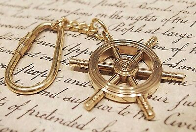 Vintage Antique Style Brass Nautical Sailing Boat Ships Wheel Keychain Gift