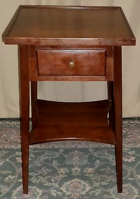 STATTON CHERRY TABLE Square Recessed Top End Side 2 Tiered Drawer Table VINTAGE
