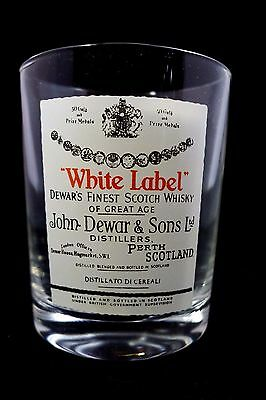 Dewars White Label 2 Sided Whiskey Glass. Sharp Graphics.