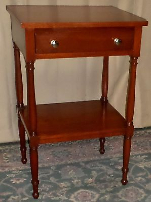 BIGGS MAHOGANY END TABLE Two Tiered Table with Drawer VINTAGE