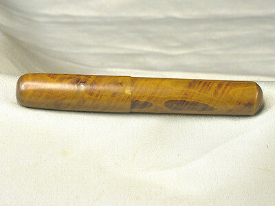 "Antique Needle Case  Wood or Treen Ware Tube 3 1/2"" Long"