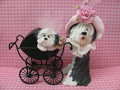 Handsculpted Old English Sheepdog Mother and Baby Carriage Figurine