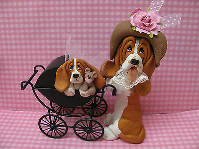 Handsculpted Red Basset Hound Mother and Baby Carriage Figurine