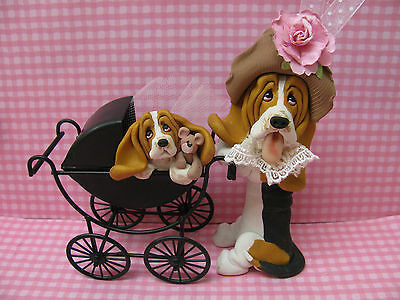 Handsculpted Tri Basset Hound Mother and Baby Carriage Figurine