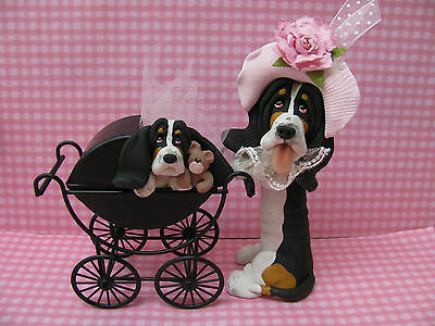 Handsculpted Black Basset Hound Mother and Baby Carriage Figurine