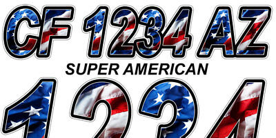 Super American Custom Boat Registration Numbers Decals Vinyl Lettering Stickers