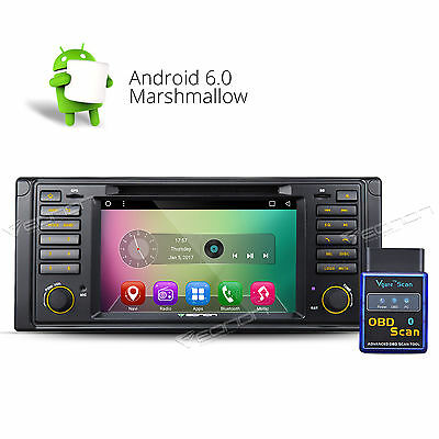 """US OBD-II 7""""HD Android 6.0 Car DVD Player Stereo GPS for BMW E39 M5 Bluetooth A"""