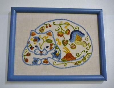Pretty Hand Embroidered Colorful Framed Cat Picture. Very Pretty!!