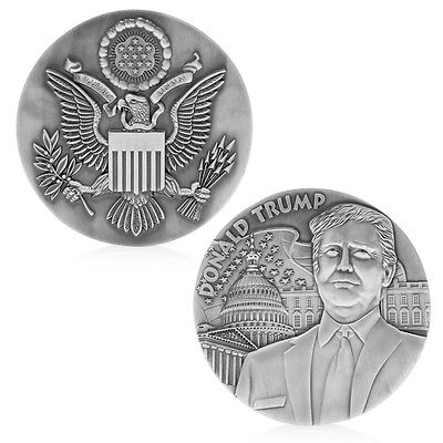 80mm American President Donald Trump Silvery Commemorative Novelty Coins