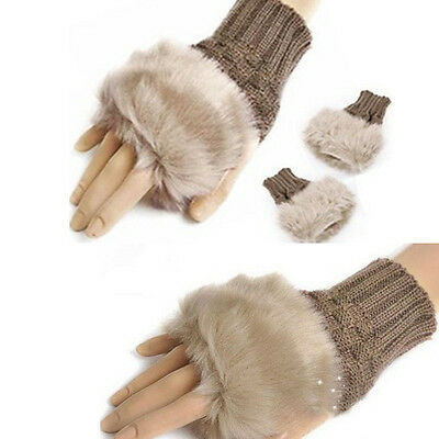 Women Fashion Fingerless Fur Winter Warm Wrist Knitted Wool Mitten Gloves Khaki