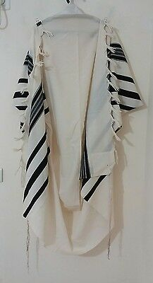 "Used Kosher Tallis Prayer Shawl 100% Wool Size 60 58""x70"" 178X148 Cm #1145"