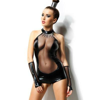 Sexy 2-Tlg Wetlook Body Latex-Look Gogo Clubwear Schwarz #gw592