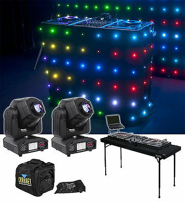(2) American DJ INNOSPOT LED Moving Head FX Lights + Motion Facade + DJ Table