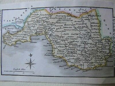 Glamorganshire, Wales: Antique Copper Plate Miniature Map C1805-1830 M A Leigh
