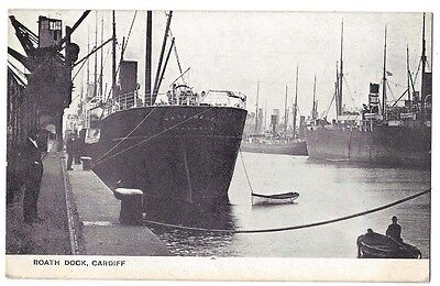 CARDIFF Boats in Roath Dock, Old Postcard by Western Mail Postally Used 1905