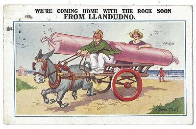 LLANDUDNO We're Coming Home With the Rock, McGill Comic Postcard Posted 1926