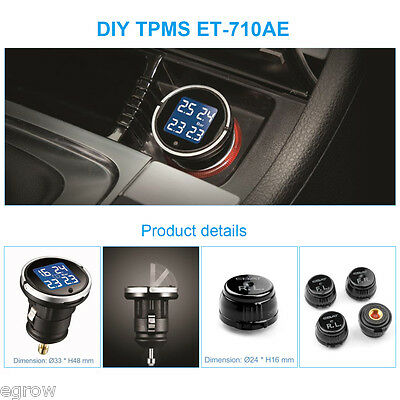 Car Auto Wireless LCD TPMS Tyre Pressure Monitoring System + 4 External Sensors