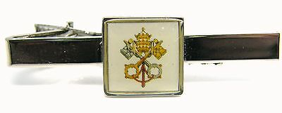 Papal Cross Keys Seal Crest Pope Tie Clip Slide Mens Novelty Badge In Gift Pouch