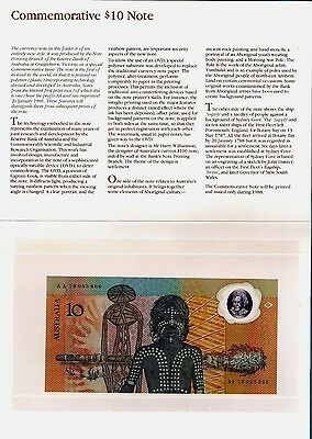 Australia - Bicentennial Commemorative Banknote $10 26.01.1988 UNC with Envelope