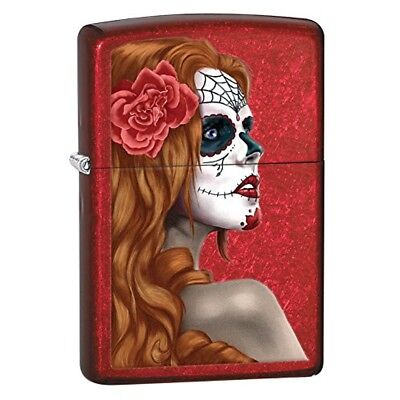"""Zippo """"Day Of The Dead Girl"""" Candy Apple Red Windproof Lighter"""