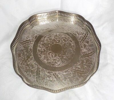 """SHEFFIELD Vintage Silver Plated on Copper 12"""" Chased Footed Gallery Tray"""