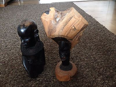 2 X Vintage Hard Wood Sculpture Of An African Tribal Man Carved By Hand