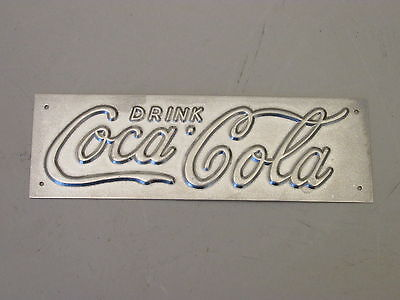 SMALL 1930s Vintage Embossed Metal Coca Cola Sign COCA COLA COKE COOLER