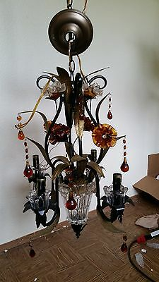 WOW Antique Wrought Iron 4 lights Vintage French Amber Crystal Flower Chandelier