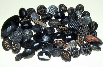 Victorian Antique Buttons Lot of Black Glass