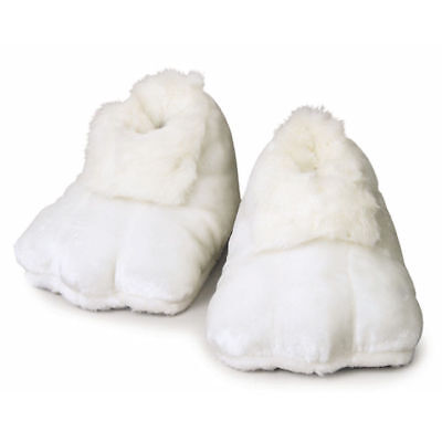 Adult Plush White Furry Bunny Animal Shoes Feet Slippers Costume Soft Footwear