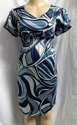 """liz Lange Maternity"" Shades Of Blue Print Satin Career Casual Dress Size: M"
