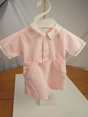 vintage BML embroidered hand made pink shirt shorts baby doll