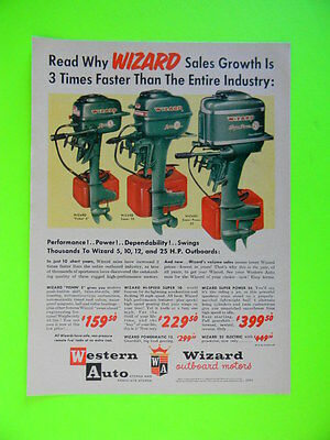 1957 Wizard Outboard Motors ~ 3 Models Shown ~ Western Auto Boating Sales Art Ad
