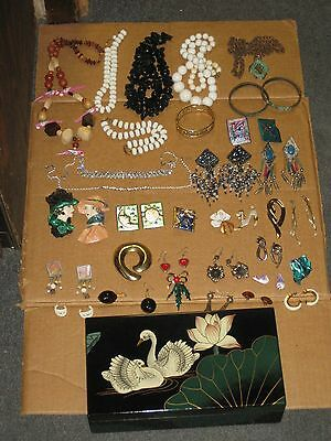 Jewelry Box filled with Lot of Vintage and Costume Jewelry TO SELL AS IS