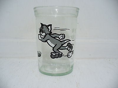 Tom & Jerry Cat Mouse Cartoon Duo Childs Drinking Glass 1990 Welch's Jelly Jar