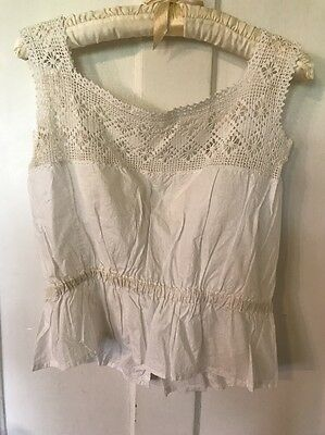 "Antique Victorian/Edwardian Embroidered White Lace Women's Camisole 34"" Chest"