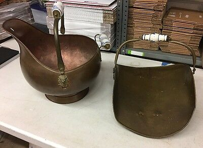 Set Of 2: Vintage Coal Scuttle Bucket And Fire Wood Caddy All Brass Copper