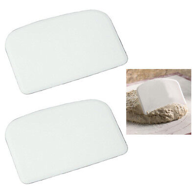 2 X Plastic Bowl Dough Scraper Pans Cutter Pastry Blade Pizza Kitchen Cake Tool