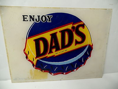 Old Enjoy Dad's Root Beer Lucite Plastic Reverse Painted Bottle Cap Sign