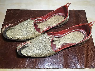 Indian Wedding Embroidered Silver Thread Leather Khussa Afghan Men Foot Wear