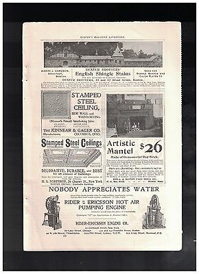 Nobody Appreciates Water in 1900 Rider Ericsson Hot Air Pumping Engine 1/4 Pg Ad