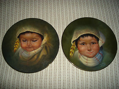 Set Of Two 8.5 In. 1986 Perillo Native Collector Plates Tears & Smiles  #469 Vgc