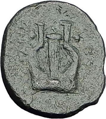 KOLOPHON in IONIA Genuine 350BC APOLLO LYRE Authentic Ancient Greek Coin i59682