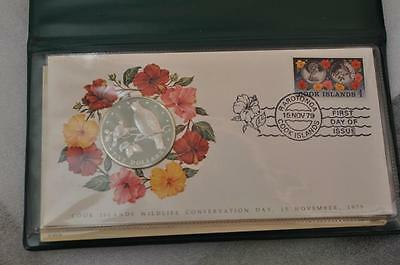 1979 Cook Islands First Day Cover $5 Silver Coin and Stamp
