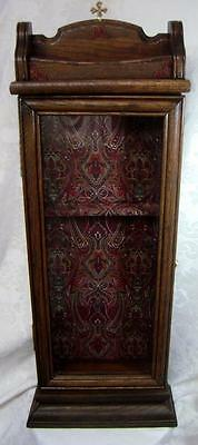 Extra Large Wooden Relic Display Cabinet-Single Door-Glass-Brass Cross Finial