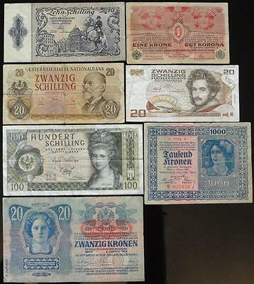 1913-1986 Austria, Lot Of 7 Different Notes, Nice Variety