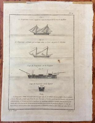 Original antique~1788~nautical Ship Le Naupotame Engraving Pl II~Sellier~French