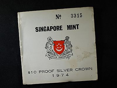 1974 Singapore $10 SILVER PROOF - ONLY 6000 MINTED!  COA, original packaging
