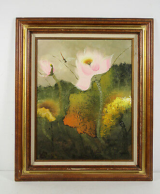Still Life Impressionist Flower Dragonfly Oil Painting