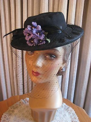 Sassy 40's Blk Tilt Hat W/fabric Crown & Straw Brim Trimmed With Flowers & Veil